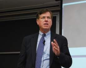 Harry delivers a talk at the Driehaus College of Business at DePaul University