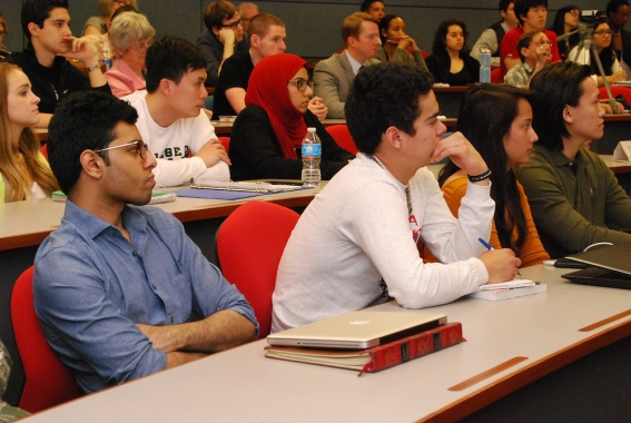 Students at the Driehaus College of Business at DePaul University listen intently during Harry's talk